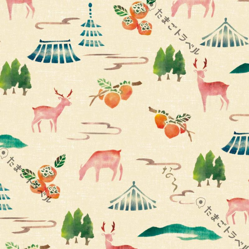 奈良柄〜鹿と柿と仏閣と